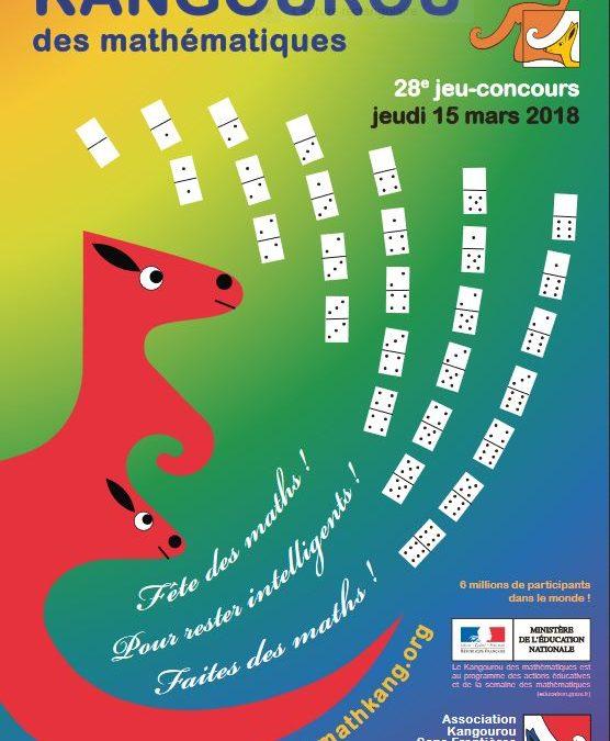 Inscription au kangourou des maths jeudi 15 mars 2018
